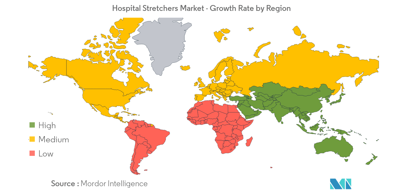 Hospital Stretchers Market -  Growth Rate by Region - Image